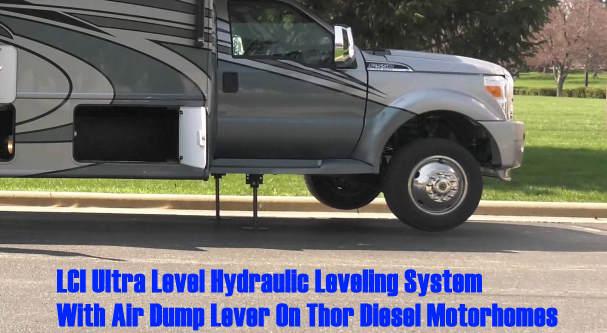 LCI Ultra Level Hydraulic Leveling System On Thor Motorhome.
