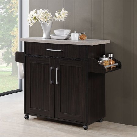 Pemberly Row Kitchen Island with Spice Rack in Espresso Gray